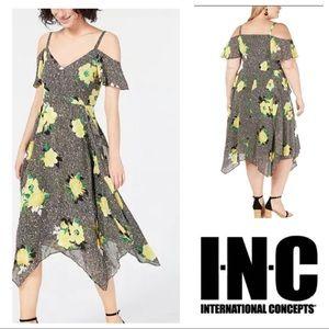 plus size INC Gingham Floral Georgette Sun Dress